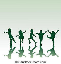 cinco, niños, siluetas