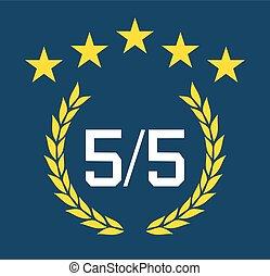 cinco, opinião, topo, bandeira