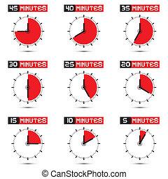 cinco, para, quarenta, cinco, minutos, relógio parada,...
