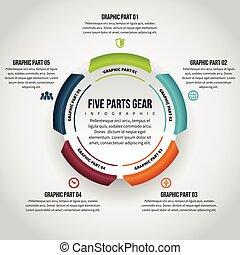 cinco, partes, engrenagem, infographic