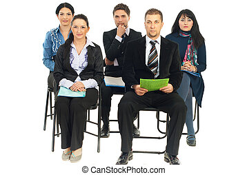 cinco, pessoas negócio, escutar, em, conferência