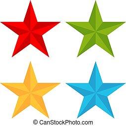 cinco, pointed, vetorial, estrela, ícone