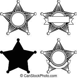 cinco, pointed, xerifes, jogo estrela