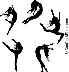 cinco, pretas, silhuetas, dancing(jump