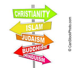 cinco, principal, religiões mundiais, ligado, seta, sinais