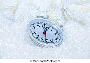 cinco, reloj, minutos, navidad, izquierda