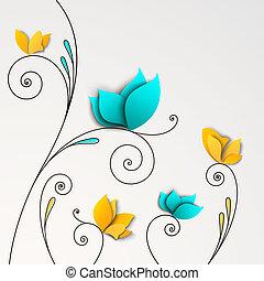 cinco, resumen, papel, flores