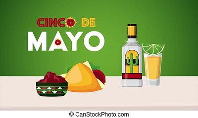 cinco, tequila, célébration, tacos, de, mexicain, mayonnaise