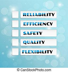 cinco, vector, calidad, priorities