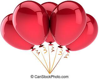 cinco, vermelho, partido aniversário, balões