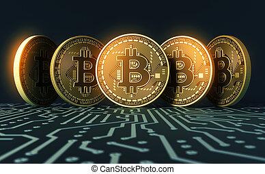 cinco, virtual, coins, bitcoins, en, azul, tarjeta de...