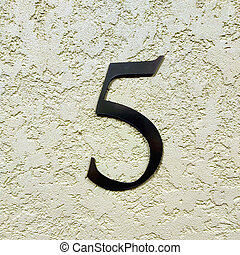 cinco, wall., número