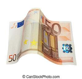 cincuenta euro, billetes de banco, aislado