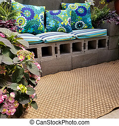 cinder block patio bench with pillows - cinder block patio...