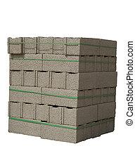 Stack of cinder blocks ( concrete masonry units ) isolated on white