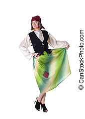 cinderela, mulher, posar, traje, vermelho-haired