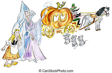 Cinderella and fairy godmother making fairy pumpkin carriage