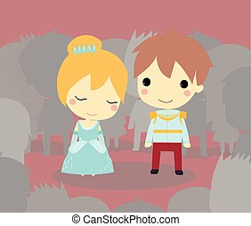 Cinderella and prince among crown. cute vector