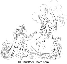 Cinderella and Prince. Outlined - Prince putting the glass...