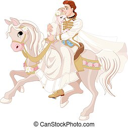 Cinderella and Prince Riding a Horse after wedding -...