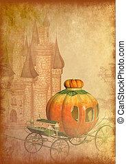 Cinderella carriage grunge background