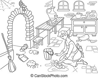 Cinderella cleans up the kitchen. The girl on the floor,...