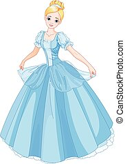 Cinderella - Illustration beautiful girl dressed ball gown