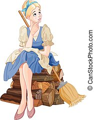 Cinderella Dreaming - Illustration of Cinderella dreaming