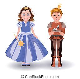 cinderella, e, principe, con, pantofola