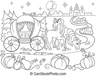 Cinderella fairy tale coloring book for children cartoon vector illustration