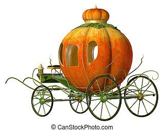 Cinderella fairy tale pumpkin carriage, isolated