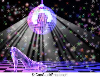 Cinderella - Glass Slipper With Disco Ball in Background,...