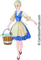 Cinderella Holds a Bucket - Illustration of Cinderella holds...