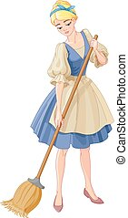 Cinderella - Illustration beautiful girl sweeps