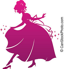 cinderella - silhouette of Cinderella wearing her glass...