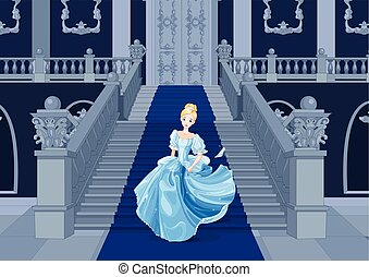Cinderella Runs Away - Illustration of Cinderella runs away