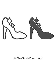 Cinderella shoe line and solid icon, fairytale concept, Shiny slipper sign on white background, Cute princess fantasy crystal shoes icon in outline style for mobile and web design. Vector graphics.