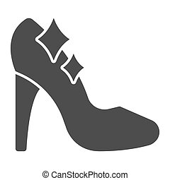 Cinderella shoe solid icon, fairytale concept, Shiny slipper sign on white background, Cute princess fantasy crystal shoes icon in glyph style for mobile and web design. Vector graphics.