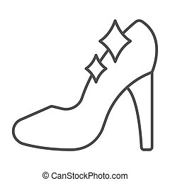Cinderella shoe thin line icon, fairytale concept, Shiny slipper sign on white background, Cute princess fantasy crystal shoes icon in outline style for mobile and web design. Vector graphics.