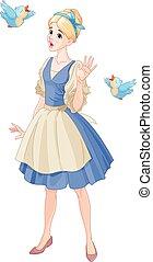 Cinderella Singing with Birds