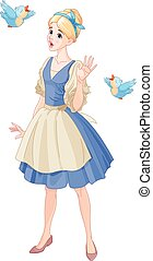 Cinderella Singing with Birds