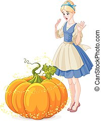 Cinderella Surprised by a Magical Pumpkin - Cinderella...
