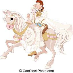 cinderella, y, príncipe, equitación, un, caballo, después, boda