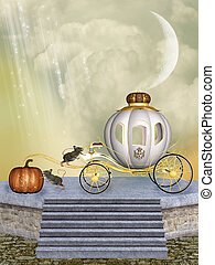 Cinderella's carriage pumpkin and mice into a stage