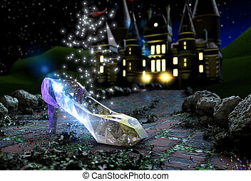 Cinderella's crystal shoe on a road at night with a castle...