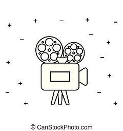 cine, cámara, vídeo, aislado, icono