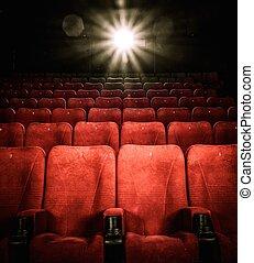 cine, cómodo, vacío, números, asientos, rojo