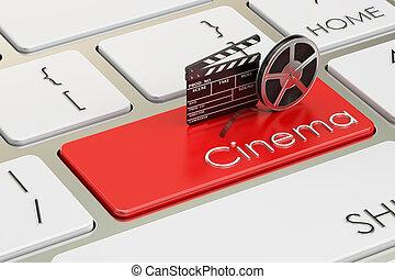 cine, concepto, en, rojo, teclado, botón, 3d, interpretación