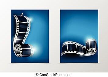 cine, dinámico, espalda, diseño, plantilla, frente