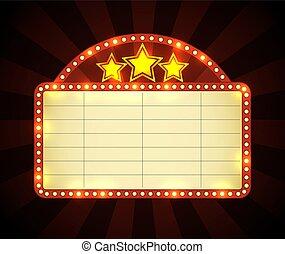 cine, letrero de gas de neón